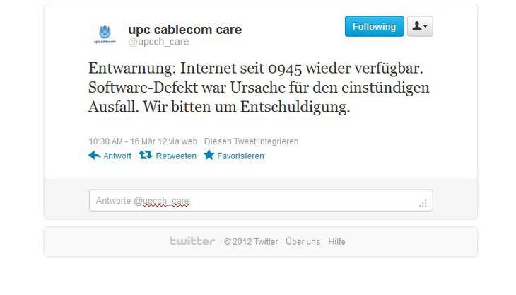 upc cablecom hat die Ursache des Ausfalls gefunden.