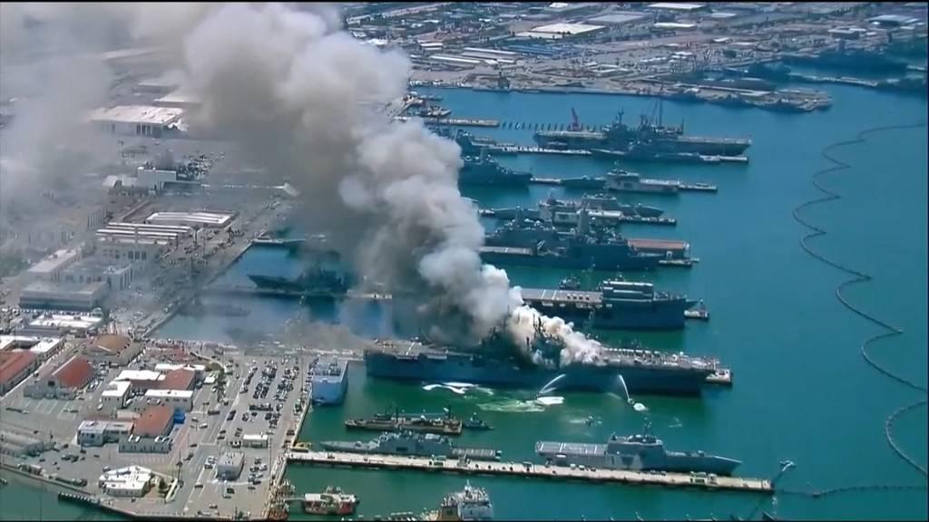 US-Kriegsschiff explodiert und fängt Feuer - 21 Verletzte