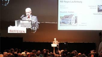 Urs Siebenhaar an der Generalversammlung der Raiffeisenbank Laufenburg.