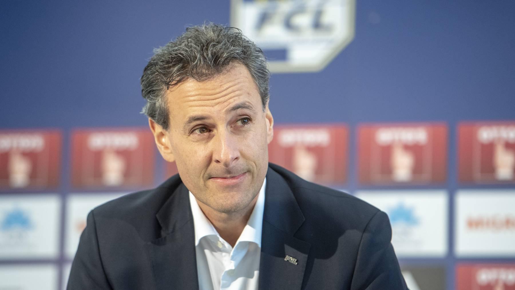 Der Präsident des FC Luzern, Philipp Studhalter anlässlich einer Medienkonferenz des FC Luzern zur Entlassung des Trainers Rene Weiler vom Montag, 18. Februar 2019 in Luzern.