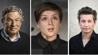 Charles Lewinsky, Dorothee Elmiger und Arno Camenisch (v.l.n.r.) sind alle für den Deutschen Buchpreis 2020 nominiert.