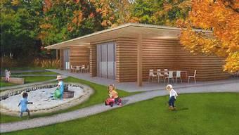 Die Zeichnung zeigt den Pavillon für das neue Kinder- und Jugendzentrum am Wald. Illustration: zvg