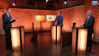 CH Media-Auslandchef Samuel Schumacher und USA-Kenner Martin Naville zu Gast bei «Talk Täglich»-Moderator Oliver Steffen.