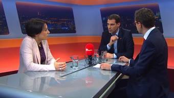 Im «TalkTäglich» auf Tele M1 diskutierten SP-Nationalrätin Yvonne Feri und FDP-NationalratThierry Burkart mit Moderator und az-Chefredaktor Christian Dorer.