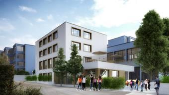 So soll der Erweiterungsbau beim Schulhaus Huebwies aussehen. (Archiv)