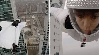 Mancino fliegt zwischen diesen beiden Hochhäusern hindurch – dabei wird es kurz brenzlig ...