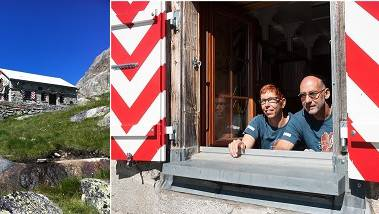 Die Biberister Heinz und Katrin Müller betreuen seit 2013 die Lauteraarhütte. Sie liegt auf 2393  Meter ü. M.