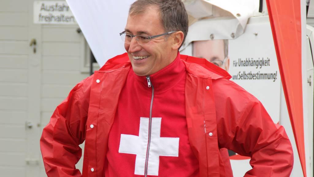Roland Rino Büchel bei einer Parteiveranstaltung in Altstätten. (Bild:FM1Today/Leila Akbarzada)