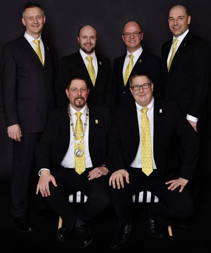 Zunftrat heute von links Daniel Frey, Bernhard «Bernie» Wyss, Philipp Schürch, Beat Kiefer, Philipp Müller und Roland Flury.