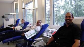 Aargauer Polizeinachwuchs im Blutspendezentrum Aarau