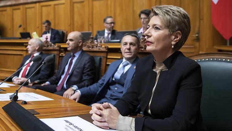 Bundesrätin Karin Keller-Sutter erwartet vorerst keine Departementsrochaden ihrer Regierungskollegen. (Archivbild)