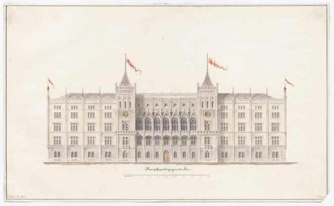 Pläne von Ferdinand Stadler für ein Schweizerisches Bundesgebäude in Zürich, 1848.