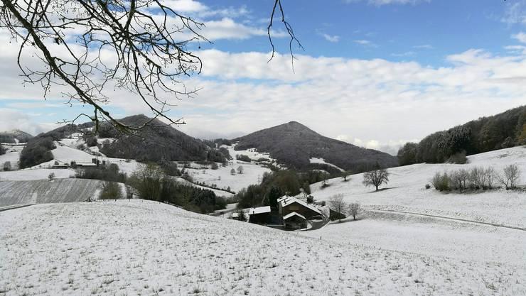Wintereinbruch auf der Staffelegg: Weisse Wiesen und Felder so weit das Auge reicht.