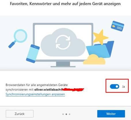 Beim Installieren kann man sich mit seinem Microsoft-Konto anmelden und diesen Schieber auf «Ja» stellen, sofern man Edge über mehrere Geräte synchronisieren will.