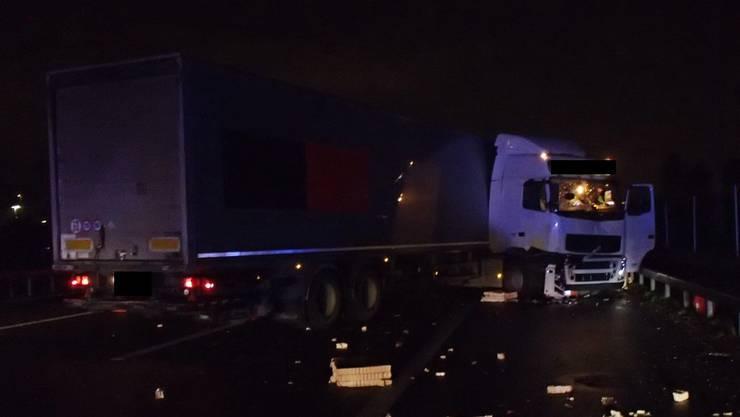 Der beschädigte Lastwagen