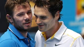 Stanislas Wawrinka mit Davis-Cup-Partner Roger Federer