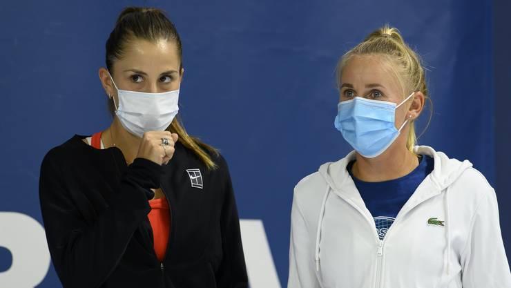 Belinda Bencic und Jil Teichmann Ende Juli in Biel. Während Bencic auf die US Open verzichtet, nimmt Teichmann am Turnier in New York teil.
