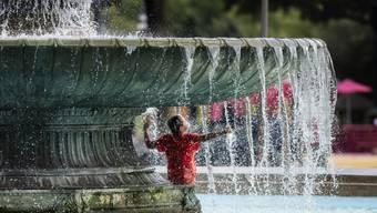 In den USA sind am Sonntag vielerorts sehr hohe Temperaturen zu verzeichnen - zahlreiche Menschen suchen daher, wie hier in Philadelphia, originelle Abkühlungsmethoden.