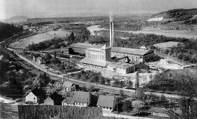 Aufnahme des Zementwerkes Wildegg von 1912.
