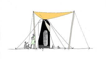 Obe: Der Fallschirm, nit dem das Haus zur Erde segelt,  dienst als Zeltdach. Mitte: Im inneren des Zylinders gibt es ein WC und eine Dusche. Unten: Der Fallschirm dient später auch als Regenfänger.