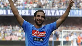 Gonzalo Higuain jubelt über zwei Tore für Napoli