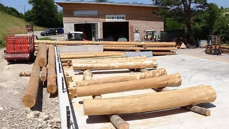 Aus Rundholz, das zum Teil schon vorbereitet ist, wird der Neubau beim Forstwerkhof in Zeihen erstellt.chr