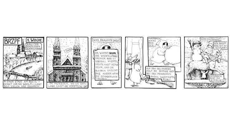 Bringt mit anarchischen Interventionen Leben in die sandsteinerne gotische Kirchenwelt des Basler Münsters: die Wichtelfrau BRZPF, gezeichnet von Anna-Regula Hess.