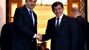 Der griechische Premier Samaras und der türkische Premier Davutoglu