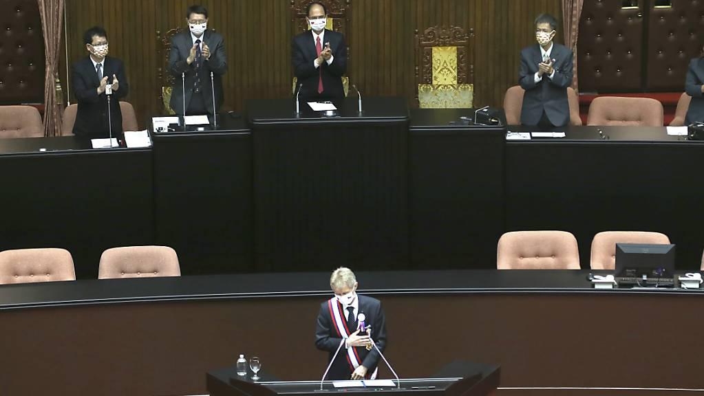 Milos Vystrcil, Senatspräsident von Tschechien, spricht vor dem Parlament. Bei seinem Besuch hat sich Vystrcil in einer Rede vor dem Parlament für Freiheit und Demokratie eingesetzt.