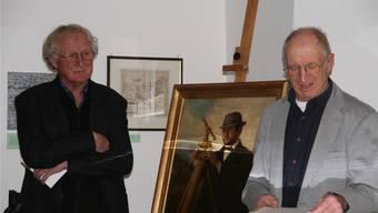 Hans Burger (links) und Richard Kaiser vor dem Bild «Der Geometer Rosenmeyer» von Hans Thoma, das viele zusätzliche Besucher angelockt hat.