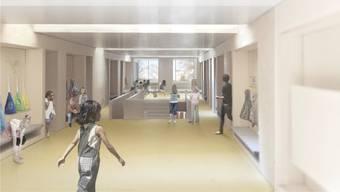 So soll der erste Stock im Schulpavillon aussehen - und das schon im nächsten August.