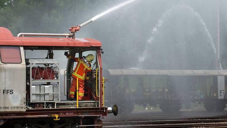 Feuerwehreinsatz in Gleisnähe: Wegen einer rauchenden Cargo-Lok in Rothenburg war der Schienenverkehr auf der Linie Olten-Luzern am Freitag eingeschränkt. (Symbolbild)