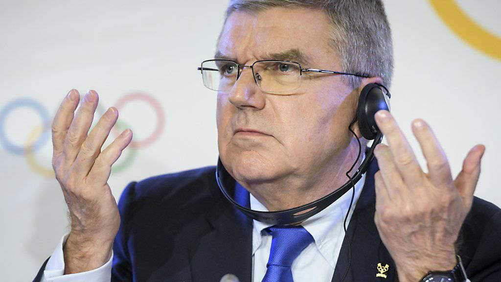 IOC-Präsident Thomas Bach bei der Bekanntgabe des Entscheides im «Fall Russland».