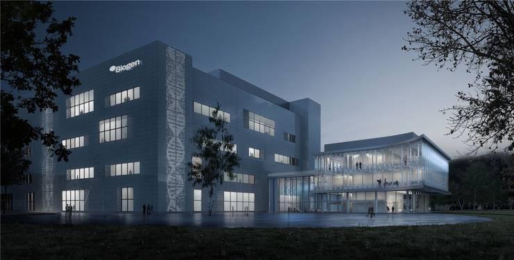 Produktions- und Verwaltungsgebäude, auch Pavillon genannt, im Licht der Dämmerung.