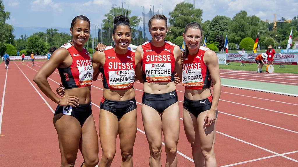 Salomé Kora, Mujinga Kambundji, Riccarda Dietsche und Ajla del Ponte laufen als Teil der 4x100-m-Staffel am Donnerstag um den Finaleinzug.