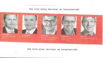 Flugblatt bezeichnet Politiker Verräter am Schweizer Volk.