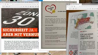 Befürworter und Gegner von Tempo 30 informieren die Einwohnerinnen und Einwohner von Lohn-Ammannsegg mit Flyern, Prospekten oder in der Dorfzeitung vor der Urnenabstimmung am 29. November.