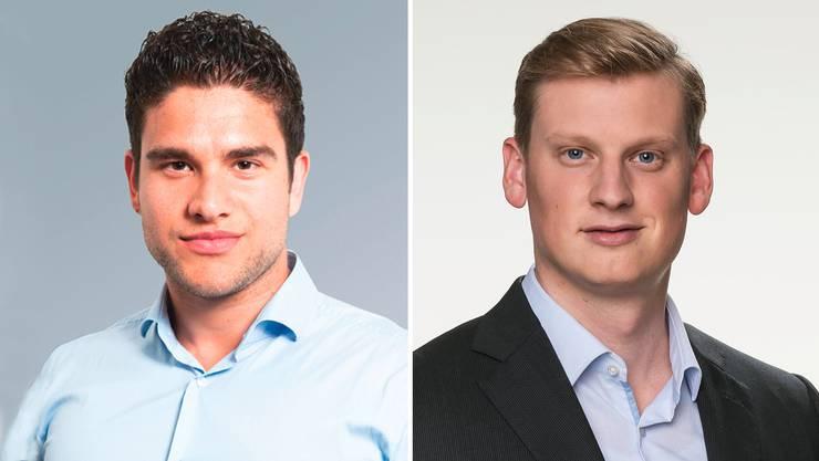 Matthias Müller, Präsident der Jungfreisinnigen und David Trachsel, Präsident der Jungen SVP.