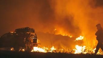 Eine Einheit der Feuerwehr kämpft gegen die Brände an. In Argentinien stehen über 175 000 Hektar Land in Flammen. Foto: Charly Parrilla/dpa