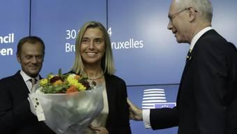 Blumen für Federica Mogherini nach Wahl zur EU-Aussenbeauftragten