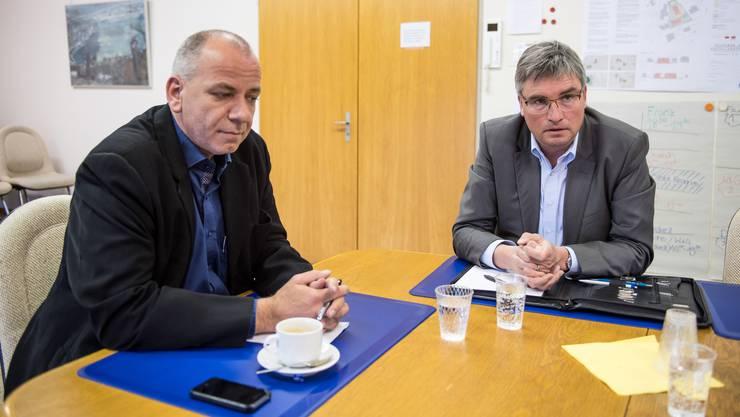 Streitgespraech mit Markus Dick (SVP) und Stefan Hug (SP), Kandidaten für das Gemeindepraesidium Biberist