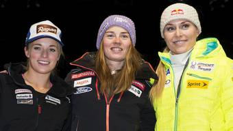 Lara Gut, Tina Maze und Lindsey Vonn an der Pressekonferenz in Val d'Isère