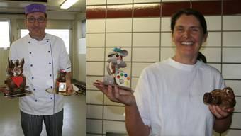 Adrian Schneider mit dem Liebespärchen (links) und dem FCB-Fan. Andrea Krüse zeigt ihren Liebling «Colorino» (links) und den Kundenliebling «Luigi».