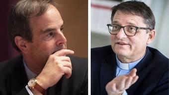CVP-Präsident Gerard Pfister und der Basler Bischof Felix Gmür sind sich uneins.