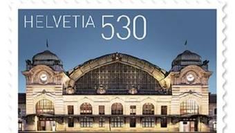 Die neue Briefmarke mit dem Basler Bahnhof erscheint am Donnerstag. zvg