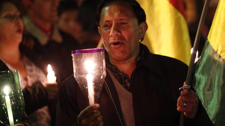 Anti-Regierungsdemonstranten bei einer Kundgebung am Freitag in der bolivianischen Hauptstadt La Paz. (Archivbild)