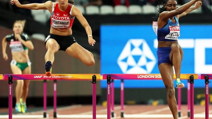 Petra Fontanive (links) zeigte eine souveräne Leistung im Vorlauf über 400 m Hürden und qualifizierte sich für die Halbfinals