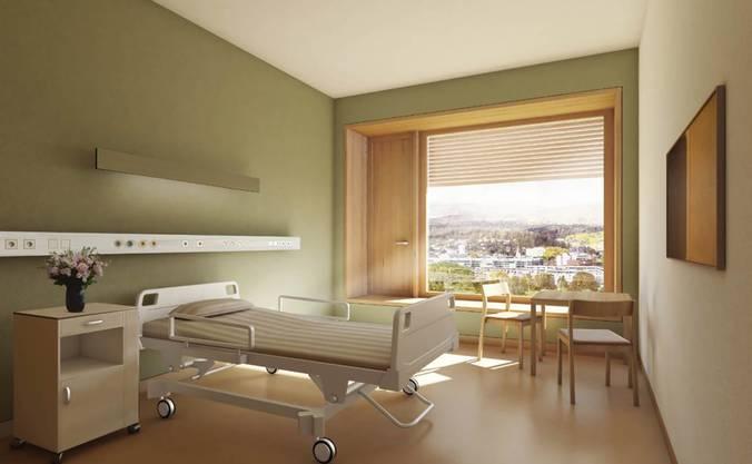 So könnte ein Zimmer für allgemeinversicherte Patientinnen und Patienten aussehen.
