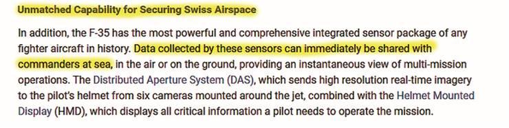 Unter dem Stichwort «Unübertroffene Fähigkeiten zur Sicherung des Schweizer Luftraumes» pries Lockheed Martin seinen F-35 an. Das Flugzeug könne seine Daten direkt an die «Kommandanten auf dem Meer» übermitteln.