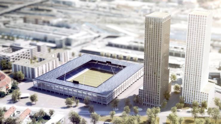 So soll es auf dem Hardturmareal nach den Plänen der Bauherren ab 2022/23 aussehen: Ein Fussballstadion, umrahmt von zwei Hochhäusern und einer Genossenschaftssiedlung. Nun ist der Gemeinderat am Ball. (Archivbild)